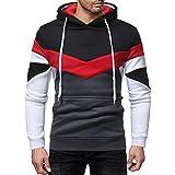 iLXHD Men's Casual Patchwork Long Sleeve Jumper Hoodie Sweatshirt Top Outwear(Black,XL