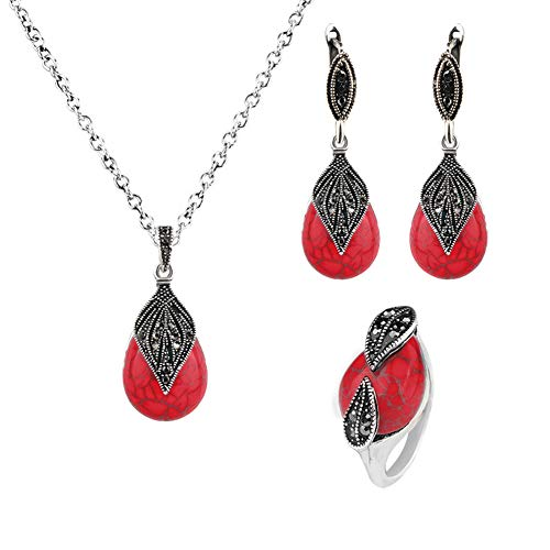 Marcasite Pattern Earrings - AkoMatial Fashion Rings, Vintage Leaf Faux Turquoise Pendant Necklace Ring Leaverback Earring Jewelry Set - Silver + Red US 9
