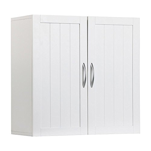 Topeakmart White Wooden Bathroom Wall Cabinet Toilet Medicine Storage Organizer with Adjustable Shelf Cupboard Unit (Medicine Cabinet With Towel Bar)