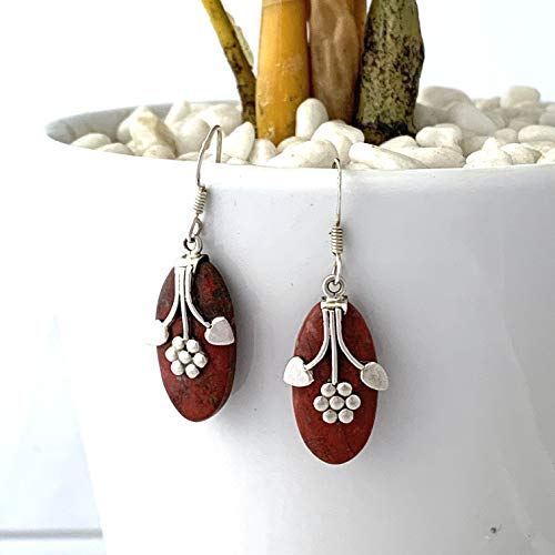 Natural RED JASPER Marquise Shape Cabochons, 925 Sterling Silver Feminine Flower Earrings (1.2