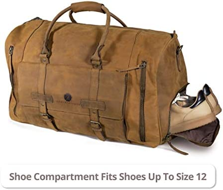 Flatiron 22 Inch Handmade Genuine Buffalo Leather Duffel Weekender Overnight Travel Bag with Shoe Compartment for Men and Women Crazy Horse Distressed Vintage Brown Carry-On