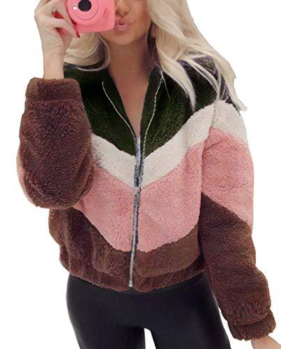 BTFBM Womens Faux Fur Fleece Long Sleeve Zipper Loose Jacket Coat Color-Block Warm Fuzzy Shaggy Outwear Pockets