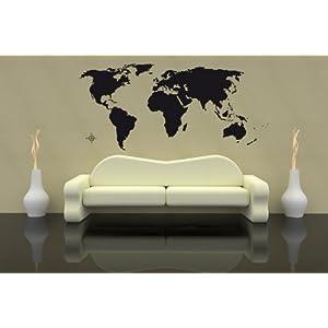 PrimeStick Premium – Adhesivo Decorativo para Pared (130 x 60 cm, hasta 260 x 120 cm), diseño de mapamundi, Color Negro o Blanco, Vinilo, Negro (RAL9005), Größe 130x60cm