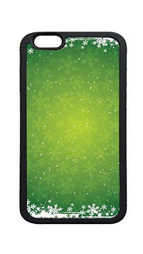 Snowflake Green Photo (iPhone 6 6s Case,Snowflakes on Green Background Winter Printed Custom Photo Ultra Thin TPU Bumper Rubber Protective Case for iPhone 6 6s 4.7inch)