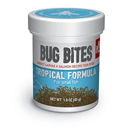 Fluval A6577 Bug Bites Tropical Fish Small Granules 1.59 oz, Small to Medium Fish