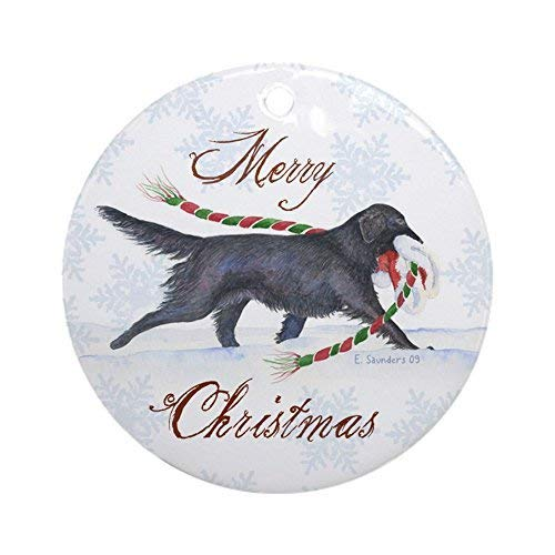 New Flat Coated Retriever - Corey22Toby Holiday Ornament New Yeay Gifts for Xmas Tree Flat-Coated Retriever Round Craft Gift Ceramic Ornament New Yeay Gift Decorations