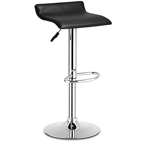 COSTWAY Swivel Bar Stools Adjustable PU Leather Backless Dining Counter Chair Black