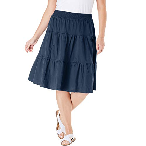 Woman Within Women's Plus Size Jersey Knit Tiered Skirt - Navy, 26/28 ()