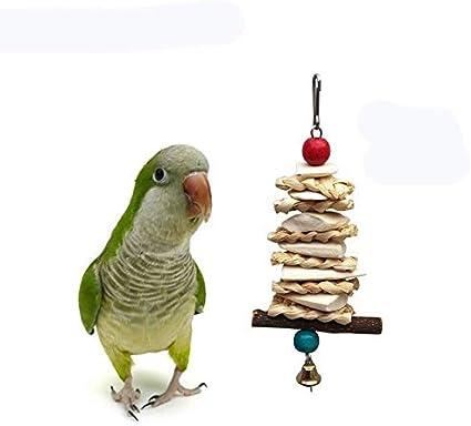 Liusujuan Parrot Bite Juguete Calcio Suplemento del pájaro del Juguete Sepia Bone Bite Cadena de Paja de maíz Hoja Juguete de Apple Rama de árbol de la mordedura de Cuerdas (Color : 20cm)