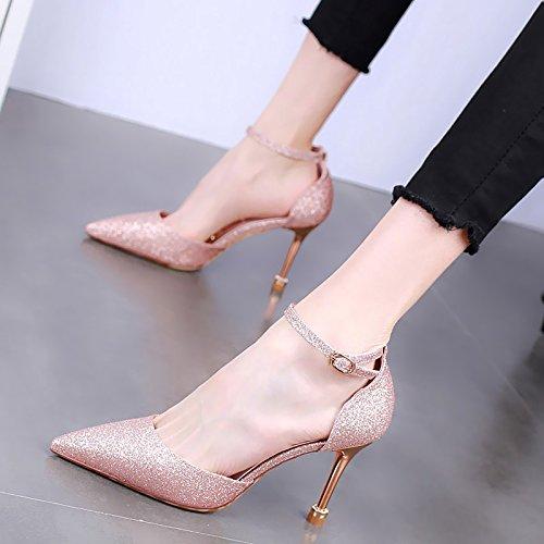 b151b28761e KPHY-Cabeza Puntiaguda Zapatos De Tacon De 9 Cm De Tacon Alto Delgado De  Lado Aire Moda Zapatos De Mujer ...