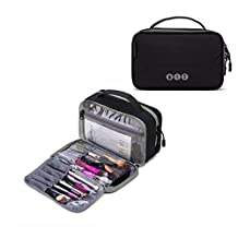 BAGSMART Compact Cosmetic Bag Clear Makeup Bag for Brushes Small Portable Travel Toiletries Bag Organizer for Women, Black and Gray