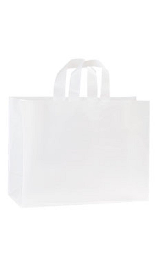 16 x 6 x 12 inch Clear Frosted Plastic Shopping Bags - Case of 250