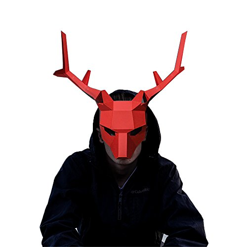3D Paper Mask Animal Head Molds DIY Halloween Party Costume Cosplay Facial Paper-craft Kit (Antlers - (Costume D'halloween Diy)