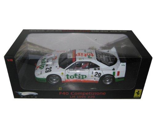 Ferrari Lemans (Hot wheels P9921 Ferrari F40 Competizione Lemans 1994 #29 Totip 1/18 Diecast Model Car Elite Edition by Hotwheels)