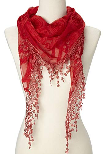 Cindy and Wendy Lightweight Triangle Floral Fashion Lace Fringe Scarf Wrap for Women (Red) (Soft Floral Scarf)