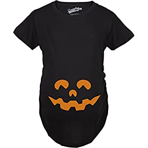 Maternity Cartoon Eyes Pumpkin Face T Shirt Halloween Fall October Pregnancy Tee (Black) - S