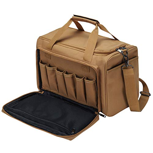 YUOTO Tactical Shooting Range Bag Gun Ammo Pistol Bag TAN