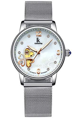 Manual Womens Watch Winding - Gute Women's Automatic Watch, Tone Stainless Steel Self Winding Mechanical Lady Dress Watch