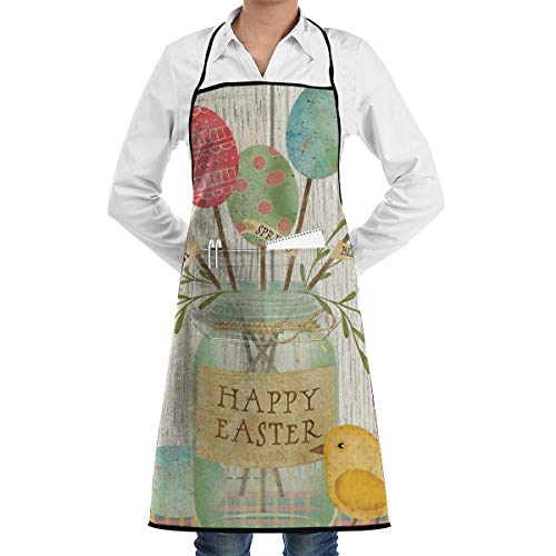 FUNINDIY Bib Apron with Pocket Spring Egg Bouquet Easter Kitchen Apron Waterproof for Cooking Baker Servers BBQ 20