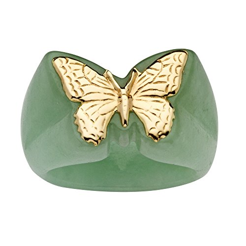 (14K Yellow Gold Genuine Green Jade Butterfly Ring)