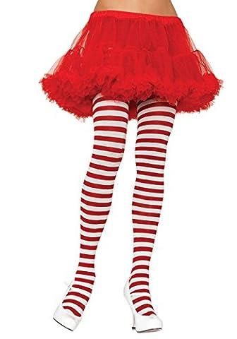Leg Avenue Women's Plus-Size Plus Sriped Tights, White/Red, 3X-4X