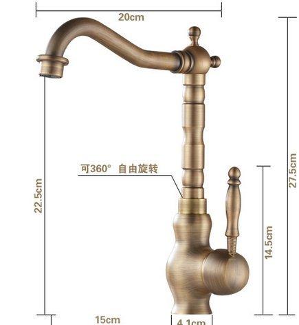 Lonfenner Robinet Salle de bain vanit/é lavabo robinet laiton style europ/éen vintage antique robinet chaud et froid robinet d/'/évier