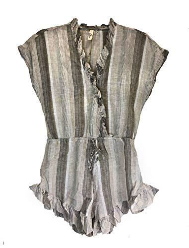 - ELAN Women's V-Neck Short Sleeve Ruffle Hem Romper (Grey/Natural Stripe, Medium)