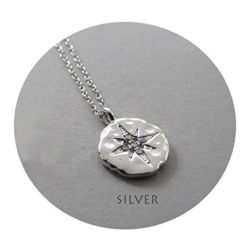 Mevecco Compass Cubic Zirconia Necklace,18K Silver Plated Disc Round Circle North Star Polaris Handmade Dainty Necklace for Women