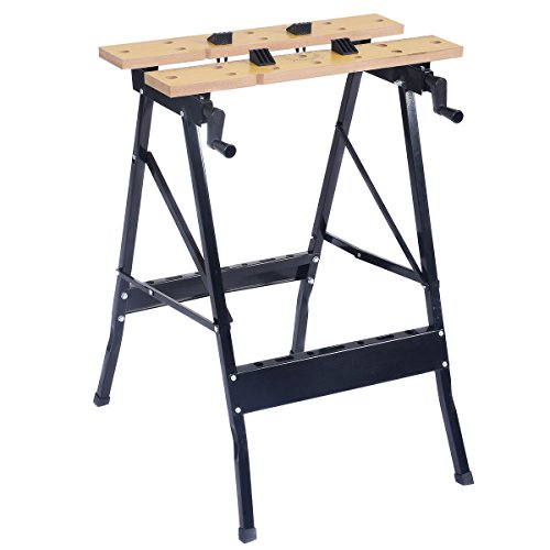 Picotech Portable Work Bench 350-Pound Capacity Portable Steel Frame Wood Vise Jaws Durable Sturdy Compact Lightweight Adjustable Swivel Pegs No Warping No Swelling Dual Clamp Cranks Non-skid Feet by Picotech