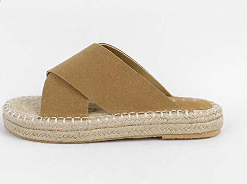 Zapatos Sisal fankou Cool Caqui Cruzada Verano de Flat Femenina y el Gruesa Roman Sandalias Arrastre Paja Zapatillas 1E6qrAEw