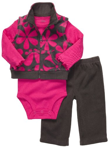 Carter's Newborn Girls 3pc Microfleece Flower Vest Set