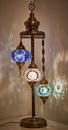 19 Colors - 3 Big Globes Turkish Moroccan Mosaic Tiffany Floor Table Lamp for North American Use, 37