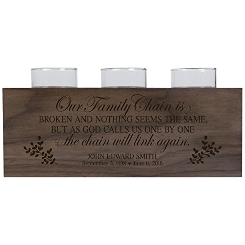 LifeSong Milestones Personalized Our Family Chain is Broken Memorial Sympathy Candle Holder Custom Engraved Walnut Wood Keepsake Ideas for Loved One 10