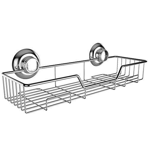 Gecko-Loc Shampoo Conditioner Holder Shower Caddy Wide Storage Basket and Shelf Stainless Steel w Vacuum Suction Cup - Chrome - Adhesive DISKS Now Include ()