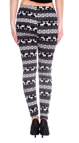 dabed27484261 Women s Winter Snowflake Reindeer Patterned Fleece Lined - Import ...