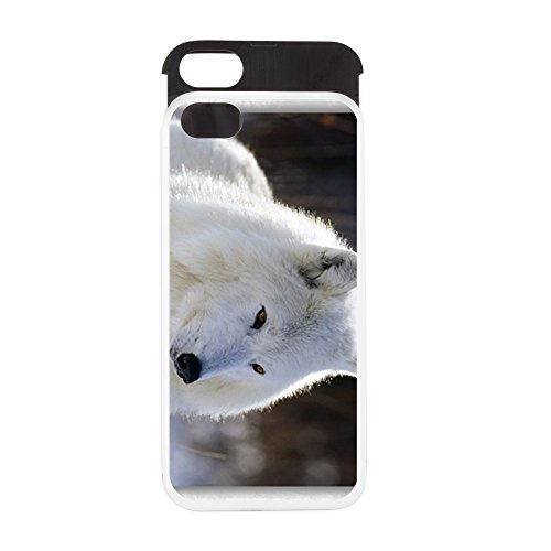iPhone 5 or 5S Wallet Case White and Black Arctic White Wolf Arctic Gray Wolf