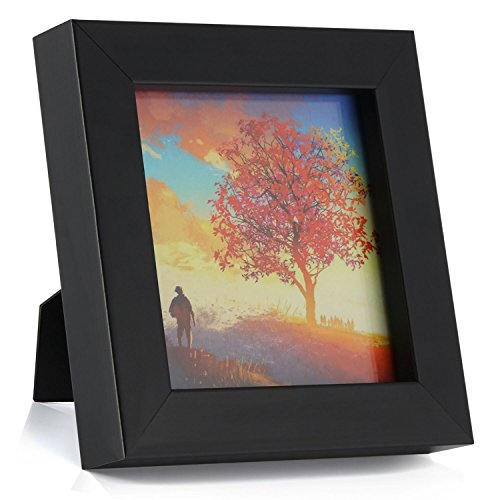 ONE WALL 1PCS 4x4 Black Picture Frame Clear Glass Well Packed (Window 3.6x3.6), Wood Photo Frame for Wall and Tabletop - Wall Mounting Hardware - Inch Square Maple 4