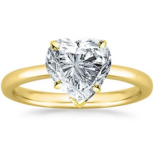 1/2 - 2 Carat GIA Certified 14K Yellow Gold Solitaire Heart Cut Diamond Engagement Ring (D-E Color, VS1-VS2 Clarity)
