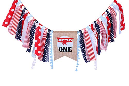 Airplane Birthday Banner for 1 St Birthday – First Birthday Decor for Vintage Biplane, Vintage Airplane Birthday Party for for Photo Booth Props, Best Party Supplies (Vintage Biplane)