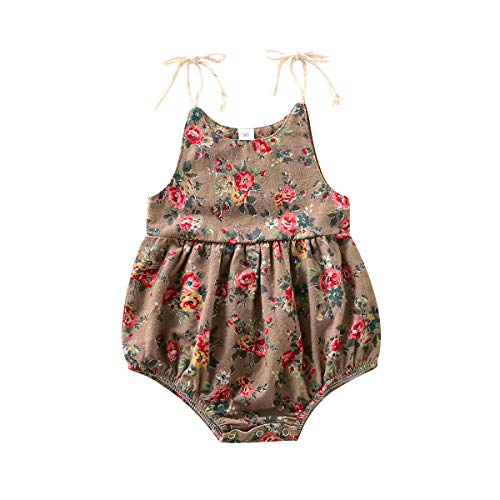 Happy Town 3-24M Floral Print Romper for Baby Girls Summer Strap Bodysuit Sunsuit Outfits (Brown, 9-12 Months)