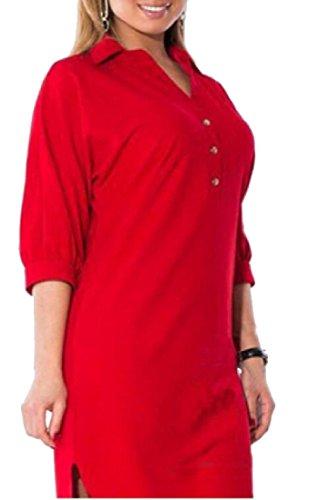 Coolred-femmes Chemise Asymétrique Couleur Pure Robes De Rouge Revers
