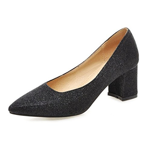 SJJH Bling Materail Court Shoes with Pointed Toe and Chunky Heel/Working Shoes with Plus Black bP2kn89