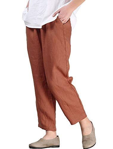 LaovanIn Women's Linen Cropped Pants Tapered Ankle Capris Trousers Elastic Waist Medium Orange