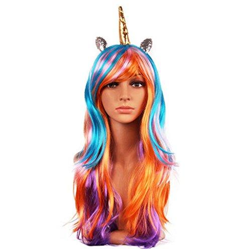 Dovewill Long Wavy Rainbow Synthetic Wig Fantasy Unicorn Horn Wig Costume Girls Fancy Dress (Fantasy Girl Wig)