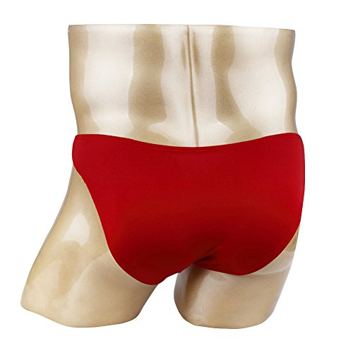 Agoky Men's Open Pouch Panties Front Hole Swimwear Clubwear Nuts Out Underpants Red One_Size by Agoky (Image #2)
