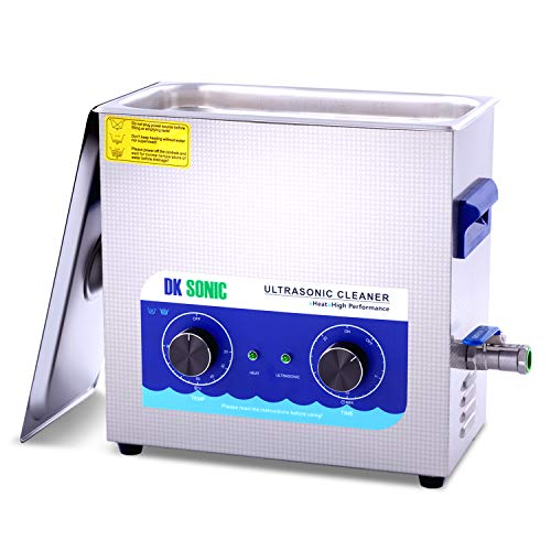 Commercial Ultrasonic Cleaner - DK SONIC 6L 180W Sonic Cleaner with Heater and Basket for Metal Parts, Carburetor,Fuel Injector,Record,Circuit Board,Brass,Engine Parts,Tableware,Home Repair Tool,etc