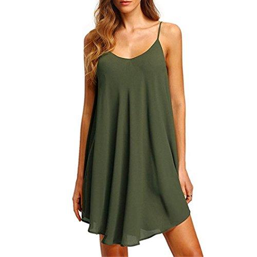 Shirred Dress Knit (Summer T-Shirt Mini Dress Women's Solid Chiffon Sleeveless Casual Dress Party)