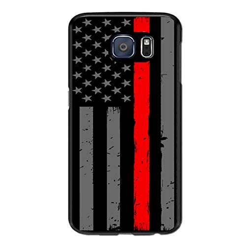 (Thin Red Line Firefighter Flag Compatible for Samsung Galaxy S7 Edge Phone Case Shockproof and Dustproof Protective Shell PC Material Cover Case (5.5'') )