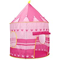 Bloodyrippa Prince and Princess Castle Play Tent, Indoor and Outdoor Kids Playhouse, Foldable Pop Up Tent with Carry Case, Perfect for Boys, Girls, Toddler, Pink