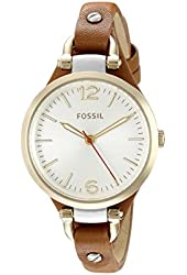 """Fossil Women's ES3565 """"Georgia"""" Gold-Tone Stainless Steel Watch with Brown Leather Band"""